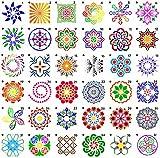 Latocos 36 Stück Mandala Schablone Vorlage Mandala Schablonen Zeichenschablonen Muster Kunstwerkzeuge für DIY Malerei Kunst Projekte Steine Keramik Wand Möbel