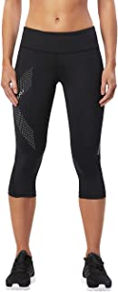 2XU Women's Mid-Rise Compression 3/4 Tight, Black/Dotted Reflective Logo, XL