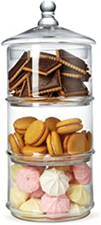 MyGift 16 inch 3 Tier Stacking Apothecary Jars, Round Glass Candy and Cookie Dishes