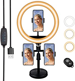 LED Ring Light 10'Selfie Ring Light with Adjustable Stand & 3 Phone Holder, Dimmable Desk Makeup,Perfect for Live Streaming, TikTok YouTube Photography Dimmable led Video Light