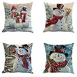 YEKEYI 4 Fundas de Almohada Decorativas con diseño de Navidad, de Lino y algodón, S-4pcsB, 18x18 (4pcsB)