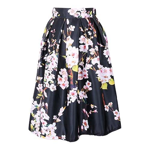 8ace268749655 LAEMILIA Women s High Waist Floral Jacquard Pleated A Line Skirt Vintage  Full Circle Flare Skater Midi