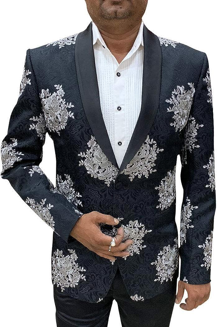 INMONARCH Embroidered Black Mens Shawl Collar Blazer Sport Jacket Coat SBM1028R54 54 Regular Black