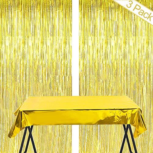 Gold Metallic Tinsel Vorhänge,2 Stück Folie Fringe Shimmer Vorhang+Decorative Tischdecke,Quaste Folie Vorhang Metallic,Folie Fransen Vorhänge Tür,Party Dekoration Geburtstag für Halloween, Weihnachten
