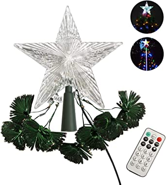 ZHONGXIN Christmas Lights, Tree Topper Star with 8 LED String Lights, UL-Listed Multicolor with Remote Control, Indoor/Outdoo