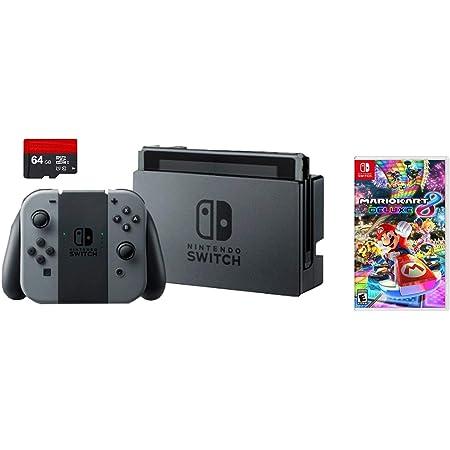 Nintendo Switch 3 items Bundle: Nintendo Switch 32 GB consola gris Joy-con, 64 GB tarjeta de memoria Micro SD y Mario Kart 8 Deluxe