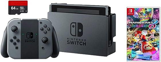 Nintendo Switch 3 items Bundle: Nintendo Switch 32 GB consola gris Joy-con, 64 GB tarjeta de memoria Micro SD y Mario Kart...