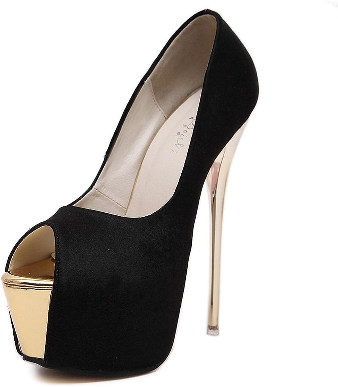 1TO9 Womens Spikes Stilettos Platform Peep-Toe Black Urethane Pumps shoes - 5.5 B(M) US
