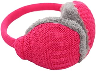 Cute Hair Women Knitted Earmuff Winter Warm Plush Ear-cap Outdoor Skiing Accessories Accessories (Color : Rose Red, Size : M)