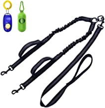 Dual Dog Leash,Double Dog Leash,360°Swivel No Tangle Double Dog Walking & Training Leash, Comfortable Shock Absorbing Reflective Bungee for Two Dogs with waste bag dispenser and dog training clicker
