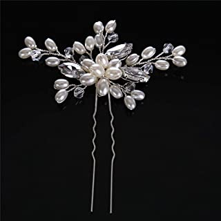 LUKEEXIN Pearl Handmade Hair Bun Bridal Hair Accessories Wedding Dress Accessories Bridal Water Drills 2pcs (Color : Silver)