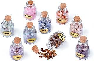 KISSITTY 9pcs Tiny Glass Wishing Bottles Undrilled Healing Tumbled Reiki Gemstone Chip Stone Set for DIY Jewelry Making Home Decoration