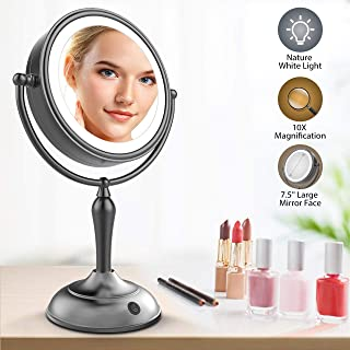Lighted Makeup Mirror, 7.5 Inch Makeup Mirror with Magnification, 1x/10x Magnifying Double Sided Mirror with Lights, AC Adapter Or Battery Operated, Natural White Light, Cord Or Cordless, Black