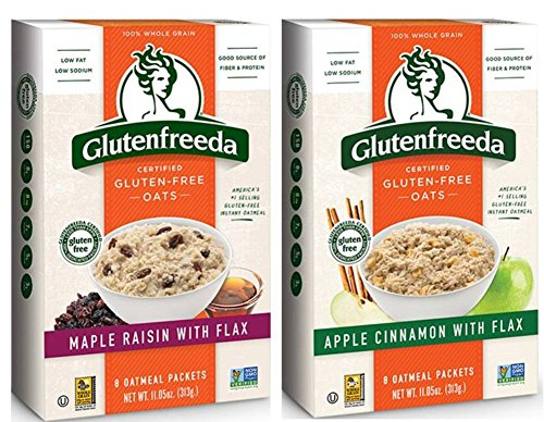 Glutenfreeda Wheat Free, Gluten Free Instant Oatmeal 2 Flavor Variety Bundle: (1) Glutenfreeda Maple Raisin With Flax, and (1) Glutenfreeda Apple Cinnamon With Flax, 10.2-10.5 Oz. Ea. (2 Boxes)