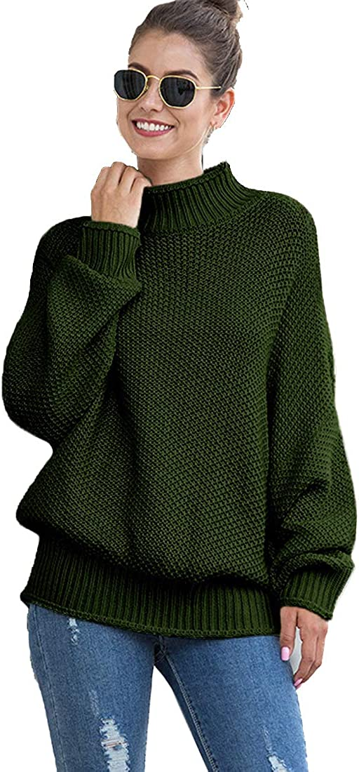 Womens Loose Pullover Fashion Turtleneck Sweater Knitted Casual Batwing Long Sleeve Oversized Jumper Top