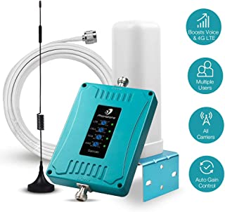 5-Band Cell Phone Signal Booster for Home, Office and RV, Multiple Band 2/4/5/12/13/17 Cell Phone Repeater Boosts Voice and LTE Data for All US Carriers in Remote Area