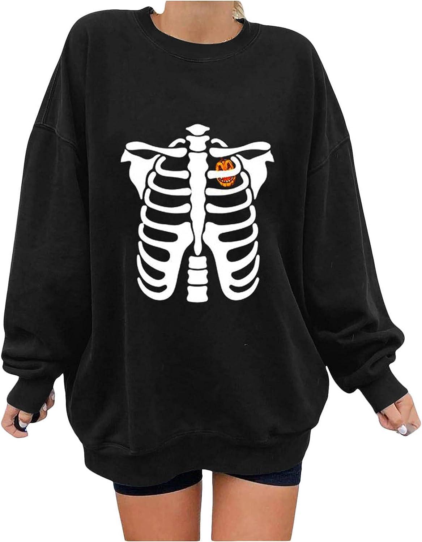 Toeava Oversized Sweatshirt for Women,Women's Halloween Skeleton Pumpkin Graphic Crewneck Pullover Blouse Tops Shirts