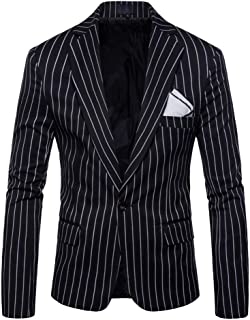 Runyue Men's Slim Fit Stripe Blazer Business Casual Suit Top Jackets One Button Jacket