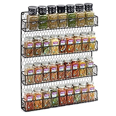 Black 4 Tier Country Metal Chicken Wire Spice Rack from 1790, Cabinet, Wall, or Pantry Mount - This Rustic Hanging Organizer is Tiered for Maximum Storage -Up To 32 Herbs & Spices - Easily Mounted