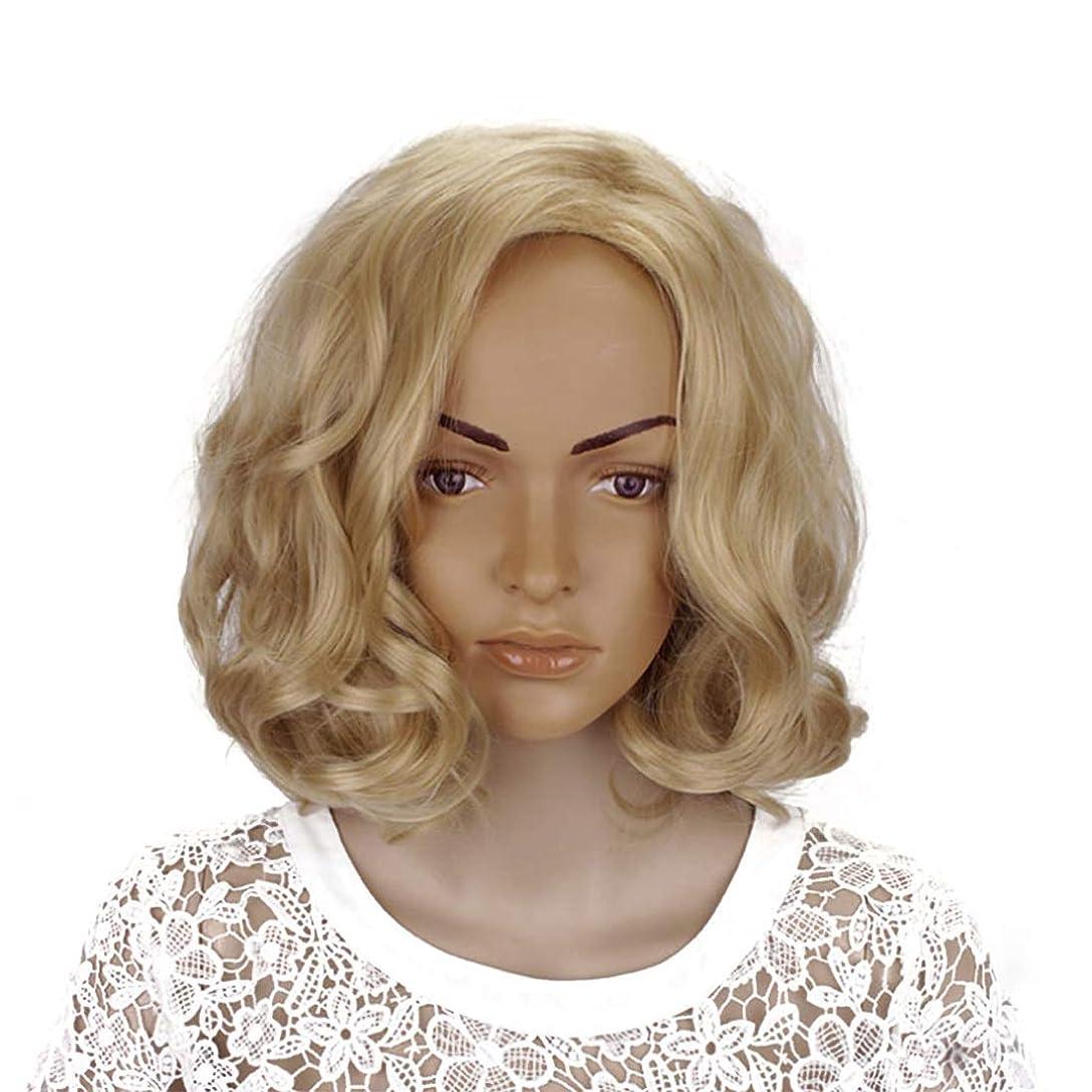 なす靴下偽善者Mayalina ブロンド14インチ女性ボボカーリーと合成部分斜め前髪コスプレ衣装毎日のパーティー用ウィッグ女性用合成かつらレースかつらロールプレイングかつら (色 : Blonde, サイズ : 14