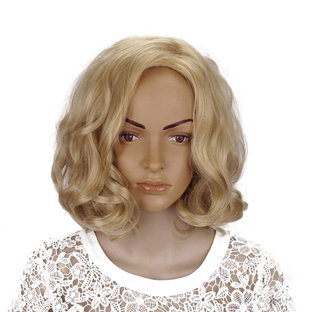 奇跡再現する刺激するMayalina ブロンド14インチ女性ボボカーリーと合成部分斜め前髪コスプレ衣装毎日のパーティー用ウィッグ女性用合成かつらレースかつらロールプレイングかつら (色 : Blonde, サイズ : 14
