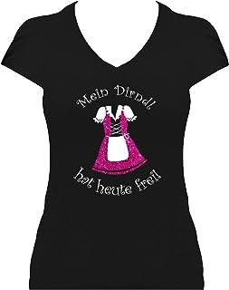 BlingelingShirts Elegantes Premium Shirt Oktoberfest Glitzeraufdruck Damen Wiesn Spruch Mein Dirndl hat Heute frei
