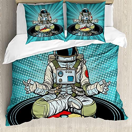 ABAKUHAUS Astronauta Funda Nórdica, Divertida del Astronauta Que Hace Yoga, Estampado Lavable, 3 Piezas con 2 Fundas de Almohada, 200 cm x 200 cm - 80 x 80 cm, Turquesa Multicolor
