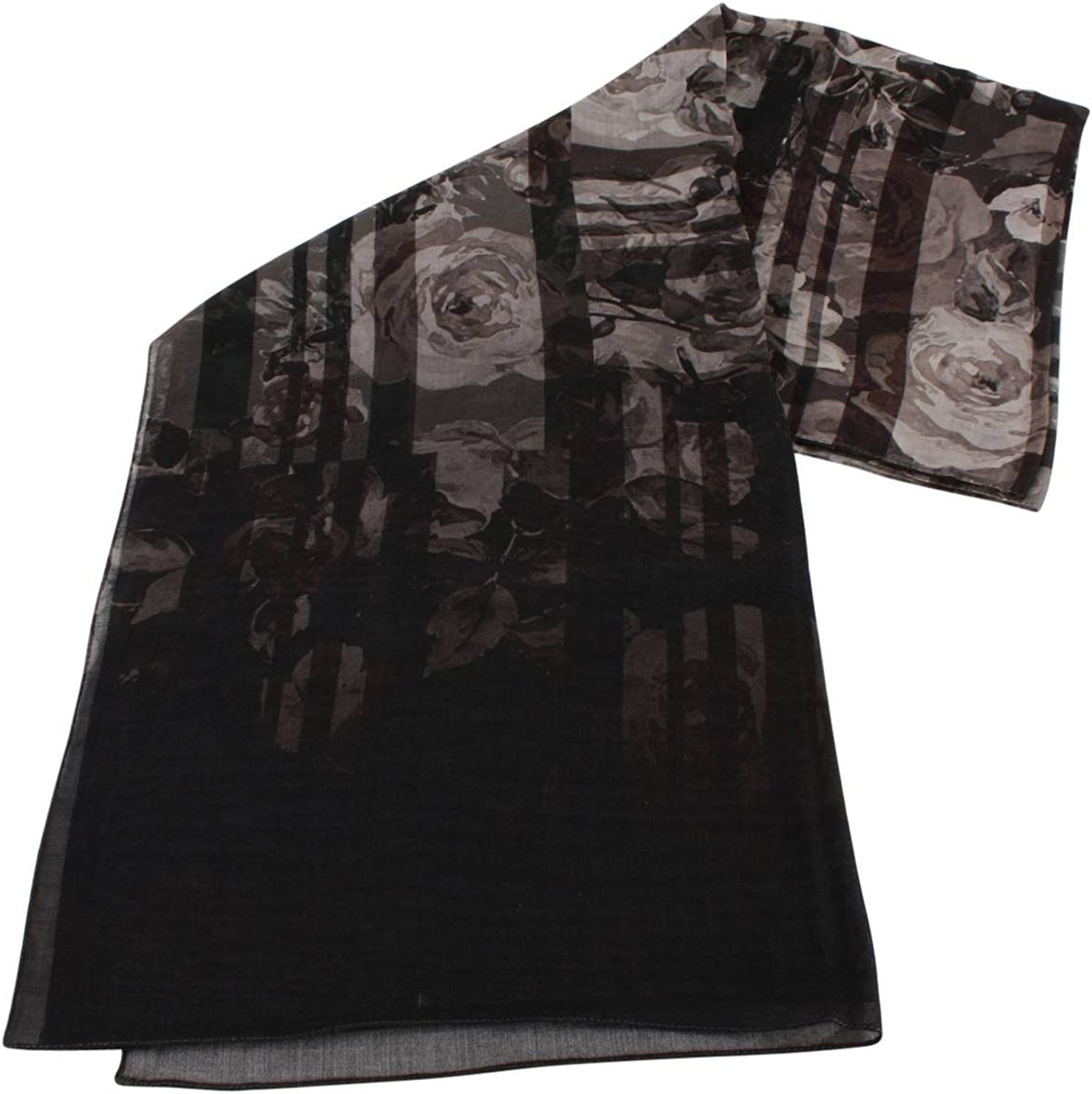 Bassin and Brown Womens Pagoda Floral Wool Scarf  Black Grey