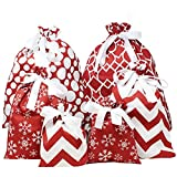 6 PCs Christmas Fabric Gift Bags Red Elegant Color with 3 Sizes for Christmas Season, Holiday Gift Giving, Holiday Presents Dcor, Giant Gifts Decorations.