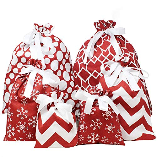 6 PCs Fabric Gift Bags Red Elegant Color with 3 Sizes for Each Season, Holiday Gift Giving, Holiday Presents Décor, Giant Gifts Decorations.