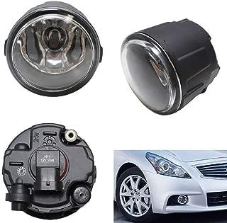 iJDMTOY Pair of Clear Lens Halogen Fog Lamps For Infiniti EX FX G M Q Nissan Cube Juke Murano Quest Versa etc, Driver Passenger Side Assembly w/ (2) 55W H11 Halogen Bulbs