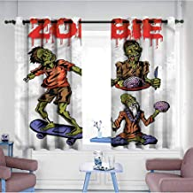 Simple Curtain Zombie Man Eating Brain Printing Insulation W55 xL45 Suitable for Bedroom,Living,Room,Study, etc.