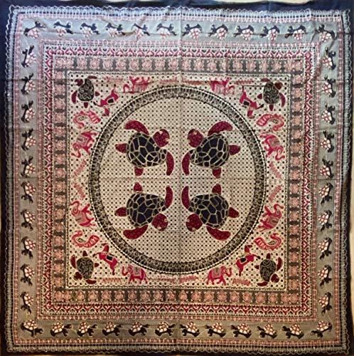 etnico Telo arredo Batik con Ricami Dorati arazzo 210 x 220 cm Circa Hippie Om Indiano Made in India colorato Spiaggia Copri Divano ajrak Tartarughe (Rosa)