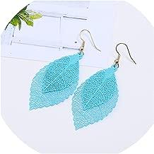 New Vintage Leaves Drop Earrings Luxury Boho Czech Leaf Long Hanging Earrings Hollow Out Earrings for Novelty for Women Fashion