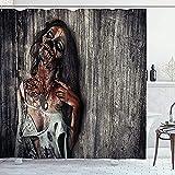 Poliéster Cortinas De Baño Cortina De Ducha Zombie, Imagen De Halloween del Sacrificio De Mujer Muerta Enojada, Juego De Decoración De Baño De Tela con Ganchos