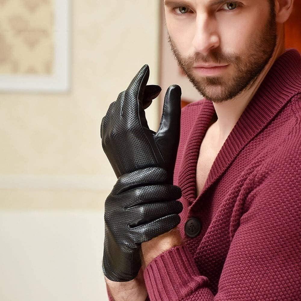 Men's gloves Mens Genuine Leather Gloves Sheepskin Glove Fashion Men Black Breathable Driving Gloves for Male Mittens Locomotive Driving Riding Hollow Breathable Single-layer Thin Glove Driving gloves
