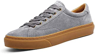 ZUAN Nonchalant Flat Sneaker for Men Athletic Sports Shoes Lace up Suede Leather Low Top Outdoor Walking Linear