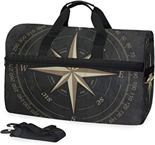 Travel Gym Bag Black Area Rug Overnight Yoga Bag With Shoes Compartment Foldable Duffle Bag For Men Women
