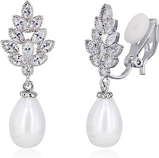 YOQUCOL Leaf-shape Zirconia Crystal Simulated Pearl Clip On Dangle Drop Bridal Earring For Women NonPierced Wedding Earrings Jewellery