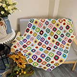 Handmade Crochet Throw Blanket Granny Blanket Sweater Style Year Round Gift Indoor Outdoor Travel Accent Throw for Sofa Comforter Couch Bed Recliner Living Room Bedroom Decor 59' x39' White