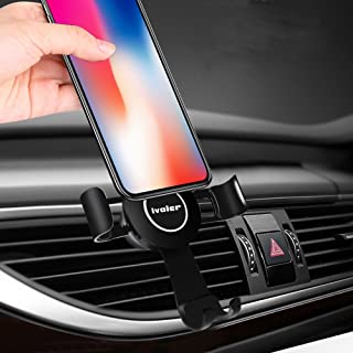 Gravity Car Phone Mount, iVoler Hands Free Auto Lock One Handed Air Vent Cradle Auto Release Cell Phone Holder One-Handed Design Compatible iPhone 11 Pro Xs MAX X 8 7 6 Plus Samsung S9 S8 Note Black