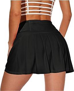دامن های گلف تنیس دوومیدانی زنانه XIEERDUO با جیب شلوارهای فعال اسکورت های دور کمر بالا