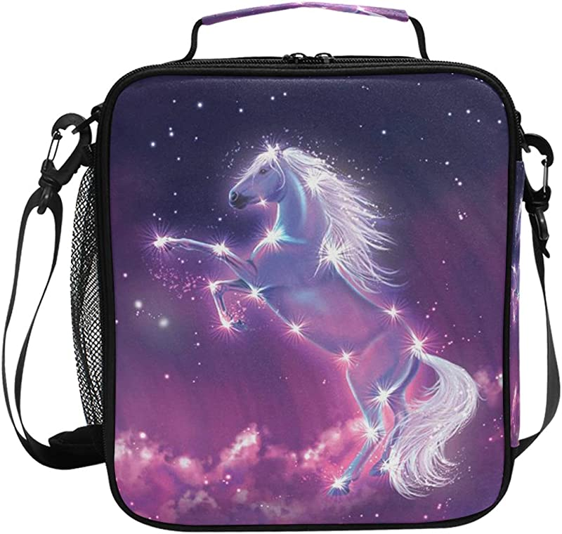 JOKERR Lunch Bag Animal Horse Galaxy Lunch Box Insulated Neoprene Zip For Adult Men Lady Outdoor Bag Picnic Camping Travel