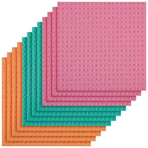 Magic Clean Cellulose Sponge Cloths 4 Packs of 3 (Total 12 Sponge Cloths) (Assorted Colors)