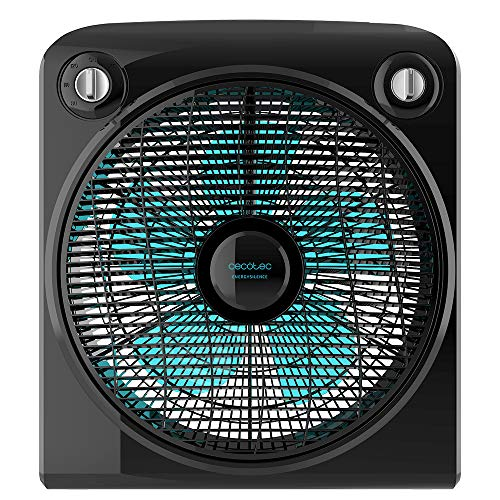 Cecotec Ventilador de Suelo con Temporizador EnergySilence 6000 PowerBox Black. 50 W, 5 aspas de 30 cm de diámetro, 3 Velocidades, Motor de Cobre, Rejilla Rotatoria, Negro