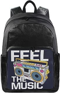 XLING Waterproof Backpack Retro Music Cartoon Boombox Pattern Laptop Shoulder Bag Casual Travel Sport School Rucksack Daypack for Girls Boys Women Men