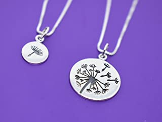 Dandelion Mother Daughter Necklace -Mommy and Me - Mom Daughter Jewelry Set - Sterling Silver Jewelry - I wished for you