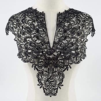 HEALLILY escote cuello apliques bordado encaje ribete tela tela costura patchwork diy craft negro