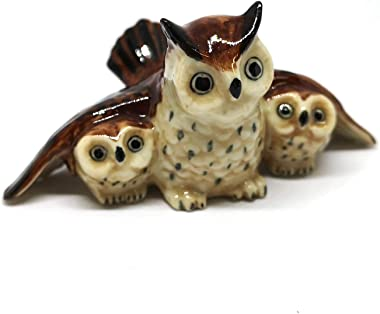 ZOOCRAFT Owl Family Animal Bird Ceramic Figurine Miniature Collectible Brown Statue