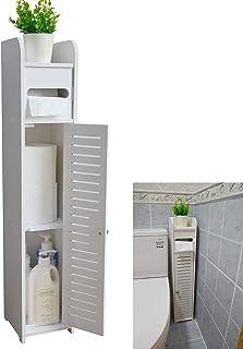 TIM Small bathroom storage corner floor cabinet with door and shelf, thin toilet vanity cabinet, narrow bathroom sink stor...